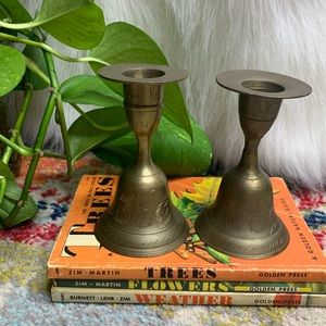 Vintage 2 Brass Bells & Candlesticks All-in-One